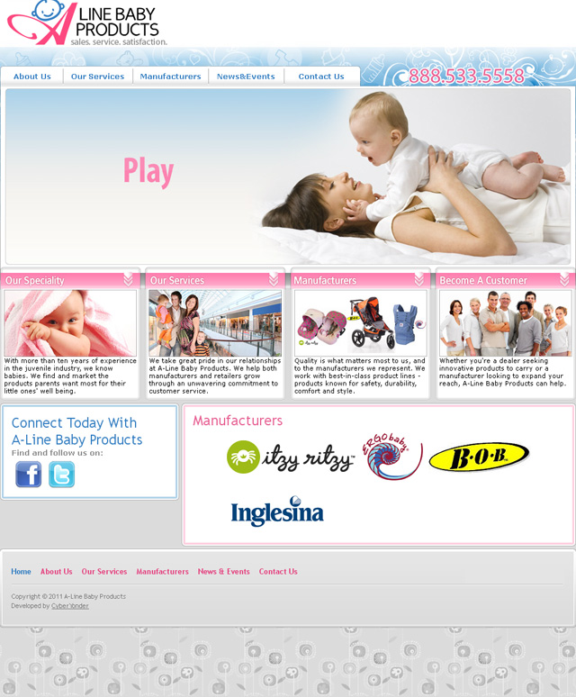 A-Line Baby Products web site development and design