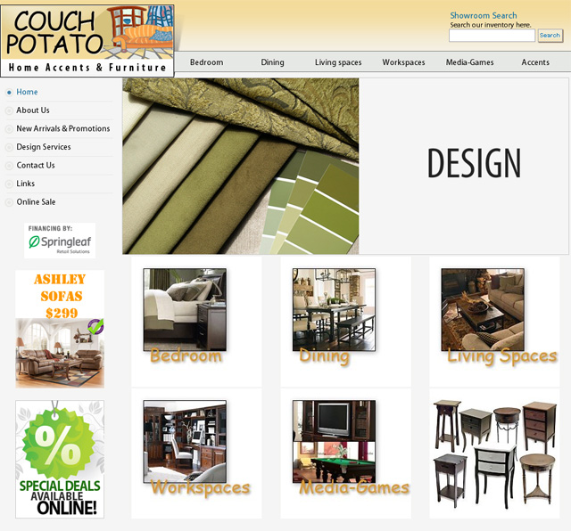 Couch Potato Furniture: San Luis Obispo and Paso Robles Furniture Stores web site design and development by CyberYonder