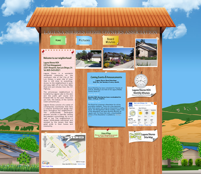 SLO Laguna Shoes HOA custon site design by CyberYonder
