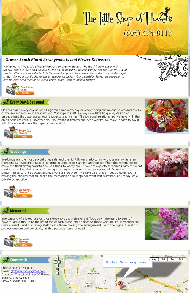 Grover Beach Little Shop Of Flowers | Flowers | Floral Arrangements | Flower Delivery | Wedding Flowers | Funeral Flowers | California Central Coast | San Luis Obispo | Arroyo Grande | Pismo Beach